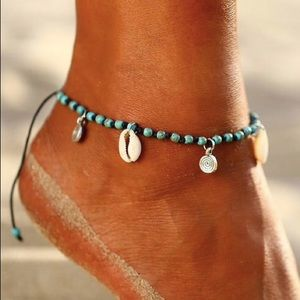 Jewelry - Shell Anklet / Boho Anklet / Turquoise Anklet